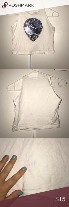 Alien crop top Worn to a rave, small spot on back from washing:/ other than that new condition! Tops Crop Tops