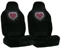 Rhinestone Girly Heart Car Seat Cover Crystal Art Car Accessories