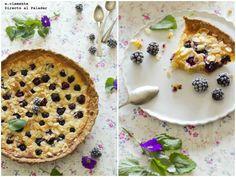 Receta de tarta de almendra y moras. Receta con fotos del paso a paso y sugerencias de presentación. Trucos y consejos de elaboración. Recetas de postres