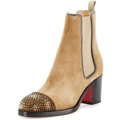 Christian Louboutin Otaboo Spike-Toe 70mm Red Sole Bootie ($1,295) ❤ liked on Polyvore featuring shoes, boots, ankle booties, camel, shoes booties, christian louboutin boots, pull on boots, christian louboutin booties, short suede boots and camel ankle boots