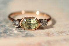 18ct Gold Chrysoberyl & Diamond Three-Stone Ring