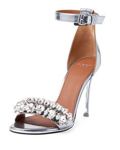 Metallic+Crystal+Ankle-Strap+Sandal,+Silver+by+Givenchy+at+Bergdorf+Goodman.