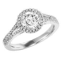 Diamond Solitaire Halo Engagement Ring   Romance your loved one with this dazzling, 14K white gold diamond engagement ring.