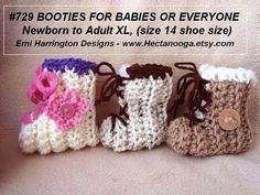 CROCHET BOOTIES, baby, children, men and women sizes, Pattern #729 - YouTube