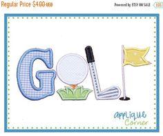40% Off Sale 547 GOLF applique digital design for embroidery machine by Applique Corner