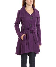 183d211eee Look at this Eggplant Pleated Button-Up Coat - Women on  zulily today!