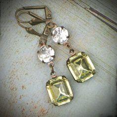 Vintage Rhinestone Earrings Bride Wedding Antiqued by RewElliott, $26.00