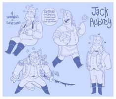 """verticalart: """"I've been reading the Aubrey-Maturin Series by Patrick O'Brian (I'm 3 books in now!) and I wanted to try designing a Jack Aubrey - the most sanguine captain."""""""