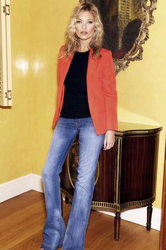 Kate Moss & Flare denim (MANGO)