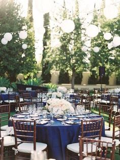 Give your wedding reception a touch of bold blue with tablecloths and blue wedding decor like in this Al fresco reception Wedding Centerpieces, Wedding Table, Rustic Wedding, Wedding Decorations, Wedding Country, Wedding Receptions, Reception Ideas, Reception Table, Church Wedding
