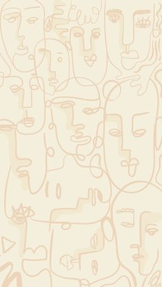 Download free illustration of Abstract face line drawing on a beige