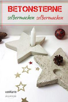 Ob aus normalem Zement oder aus Torfbeton - diese Sterne sind nicht schwer zu machen. Viele Infos zum Thema Beton gießen gibt es bei mir auf dem Blog by: vonKarin DIY & Upcycling Diy Upcycling, Diy Crafts, Christmas Ornaments, Holiday Decor, Blog, Home Decor, Profile, Christmas Deco, Christmas Tree Decorations
