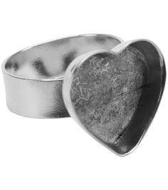Amate Studios Adjustable Heart Ring Base 1PK-Silver Overlay 16.5x14mm