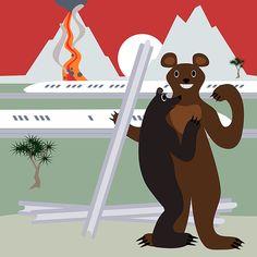 The bear who stole the track - digitally drawing in cartoon style Fine Art Photo, Photo Art, Aluminium Sheet, Weird Creatures, Got Print, Print Artist, Tag Art, Cartoon Styles, Fine Art America