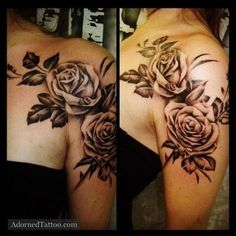 Shoulder flower tattoos for women: Rose tattoo