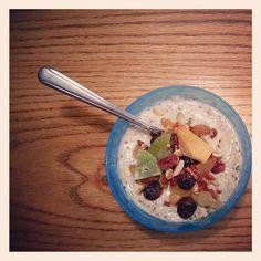 Vanilla #yogurt with chopped #almond & #walnut, #pumpkin #seed, #hemp #seed & mixed dried #fruit.