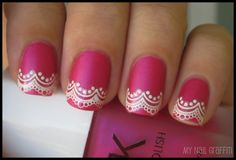 Matte polish in bright colors with decorative tips... Love it! Stickers are a really easy way to do the tips!