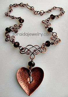 Smokey Quartz, Copper Heart, Wire Work Necklace   | zoraida - Jewelry on ArtFire