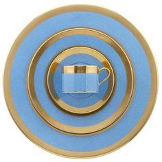 William Yeoward Avington Powder Blue Dessert Plate ($241) ❤ liked on Polyvore featuring home, kitchen & dining, dinnerware, william yeoward, light blue dinnerware and handmade dinnerware