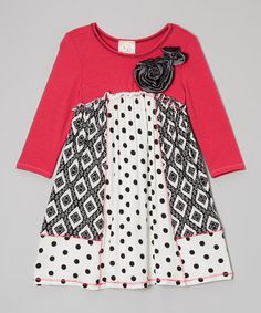 Another great find on #zulily! Pink Vanilla Fuchsia & Black Rosette Patchwork Dress - Toddler & Girls by Pink Vanilla #zulilyfinds