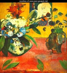 ❀ Blooming Brushwork ❀ - garden and still life flower paintings - Paul Gauguin--Still Life with a Japanese print