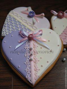 Купить Нежные сердца - бледно-сиреневый, имбирные пряники, пряник, пряники, пряник расписной