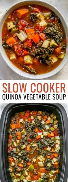 Keep warm with this hearty quinoa vegetable soup. It's packed with a ton of veggies and plant-based protein from the quinoa. It's easy to make in the slow cooker and makes great leftovers! Gluten-free and vegan, as long as you skip the cheese. Good Healthy Recipes, Healthy Meal Prep, Great Recipes, Vegan Recipes, Quinoa Vegetable Soup, Tomato Vegetable, Slow Cooker Quinoa, Healthy Slow Cooker, Apple Recipes