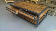 The Industrial Coffee Table with Drawers #019 by Industrial Evolution Furniture Company is an industrial-inspired design that looks beautiful in any living room, parlor, den, family or playroom. Quality materials, excellent design and superior construction make this versatile table a stunning, durable focal point for the long run, even for high-traffic areas like hotel lobbies, reception areas and physician waiting rooms. Our Industrial Coffee Table with Drawers features two steel-framed…