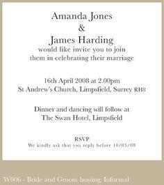 Wedding Invitation Wording In Spanish Bride And Groom Hosting