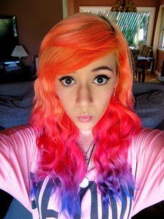 orange pink purple hair