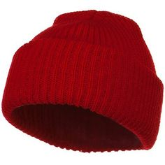 Solid Plain Watch Cap Beanie - Red
