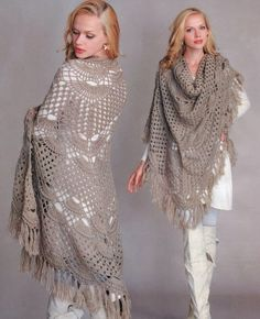 Beautiful Crochet Taupe Shawl - Free Crochet Diagram - (maviay12.blogspot)
