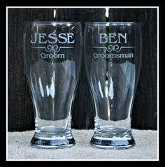 Groomsmen Gifts, Personalized Pilsner Glasses, Laser Etched, Custom wedding favors for the Best Man, Groomsman. Father of the Bride Gift. $10.00, via Etsy.