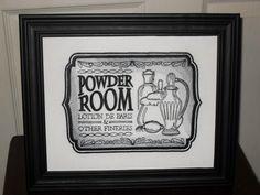 Bathroom Signs Silver vintage 1960s bathroom sign - powder room | room signs, powder