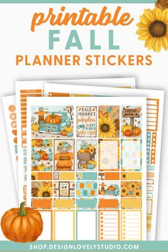 Printable Halloween Planner Stickers, Fall Planner Stickers Kit, Pumpkin Planner Stickers, fits Erin Condren Vertical Weekly Planner Printable, Printable Planner Stickers, Erin Condren Life Planner, Happy Fall, Fall Pumpkins