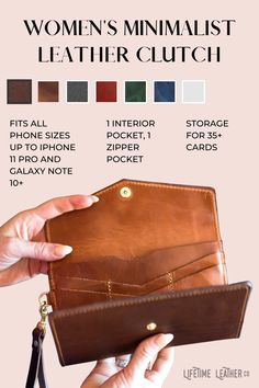 Comes with a lifetime leather warranty! Every item is meticulously handcrafted and handsewn with genuine full grain leather then paired with heavy duty hardware - they age beautifully and last a lifetime. We burnish, skive, sand, and edge coat each product for that high quality premium finish. Leather Bag Design, Leather Bags, Leather Clutch, Mobile Notary, Buy Stuff, Leather Crafting, Fringe Purse, Leather Pattern, Purse Patterns