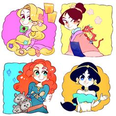 Rapunzel, Mulan, Merida, Jasmine