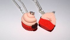 Friendship Cupcake Necklaces/Keychains Best Friends by youfimo
