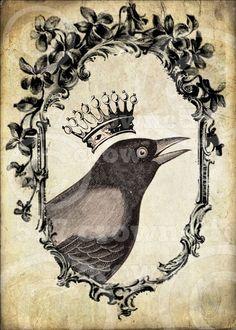 Crowned crow print