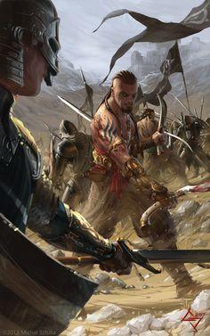 male human warrior barbarian doublewielding a scimitar and a khopesh. Makes no sense. Looks cool though.