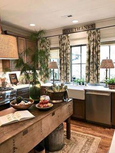 Put a lamp in the kitchen. 3 Ways to Love Your Home Again: Before & After - Maria Killam Cozy Kitchen, Kitchen Redo, Rustic Kitchen, Country Kitchen, New Kitchen, Kitchen Dining, Kitchen Remodel, Kitchen Ideas, French Kitchen