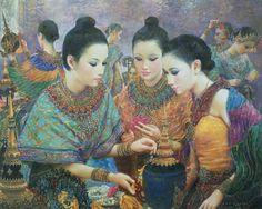 """Floral decoration on a headdress"", 2004, oil on canvas, by a Thai national artist Chakrabhand Posayakrit"