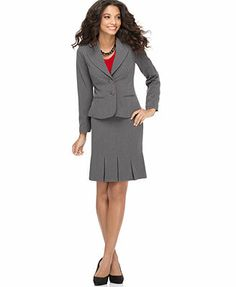 AGB Petite Long Sleeve Double Button Blazer & Pleated Skirt