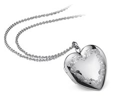 Floral Engraved Heart Locket in Sterling Silver $100 #BlueNile