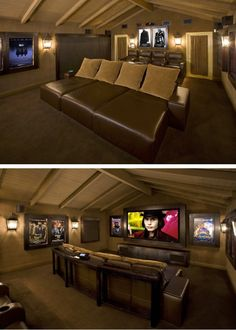 this home theater, and those lounge chairs. i need a home theater Attic Theater, Movie Theater Rooms, Cinema Room, Theatre Rooms, Attic Library, Home Design, Home Theater Design, Attic Design, Attic Apartment
