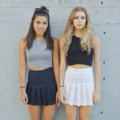 Here's Miki and Jamie wearing sleeveless crop tops and tennis skirts, available now at the Factory Flea Market at discounted prices! Made in the USA. That's American Apparel. #americanapparel #aafleamarket