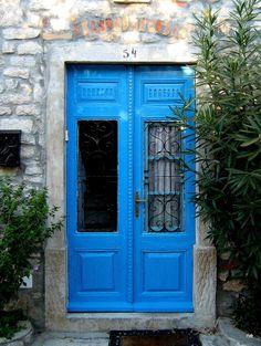 Cres, Croatia Cres Croatia, Metal Fence Gates, Croatian Islands, Blue Doors, Antique Doors, Painted Doors, Store Fronts, Doorway, Pathways