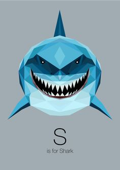 S is for Shark, Linn Maria Jensen - Animal Alphabet on Behance Art And Illustration, Illustrations, Animal Alphabet, Alfabeto Animal, Shark Art, Polygon Art, Motifs Animal, Grafik Design, Art Design