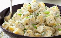 Potato salad with dill and yogurt sauce - iCookGreek Greek Recipes, Veggie Recipes, Salad Recipes, Vegetarian Recipes, Cooking Recipes, Healthy Recipes, Healthy Foods, Potato Salad Dill, Dill Potatoes