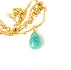 Amazonite necklace -  green amazonite - gemstone necklace - august birthstone - a green amazonite on a 14k gold filled satellite chain